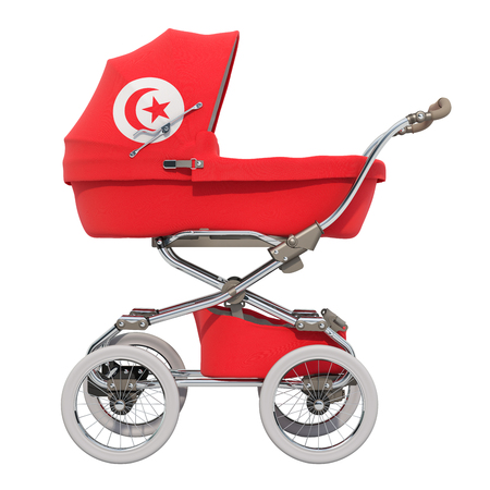 Baby stroller with Tunisian flag texture, 3D rendering isolated on white background Standard-Bild - 116655450