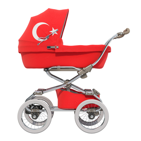 Baby stroller with Turkish flag texture, 3D rendering isolated on white background Standard-Bild - 116655451