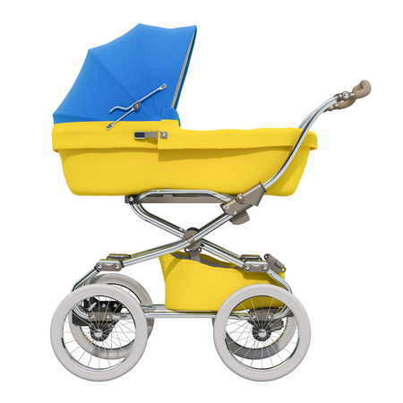 Baby stroller with Ukrainian flag texture, 3D rendering isolated on white background Standard-Bild - 116655452