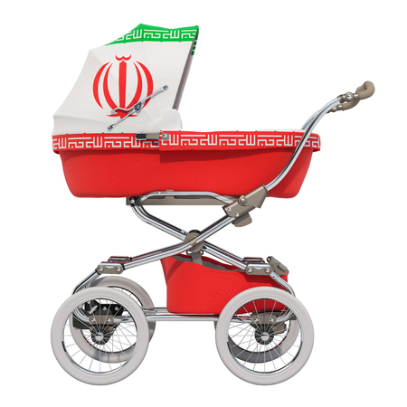 Baby stroller with Iranian flag texture, 3D rendering isolated on white background Standard-Bild - 116655453