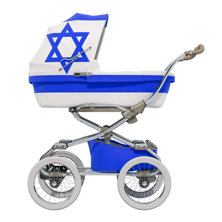 Baby stroller with Israeli flag texture, 3D rendering isolated on white background Standard-Bild - 116655455
