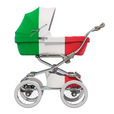 Baby stroller with Italian flag texture, 3D rendering isolated on white background Standard-Bild - 116655454