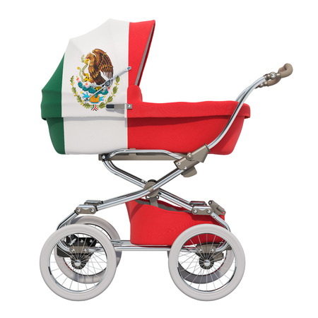 Baby stroller with Mexican flag texture, 3D rendering isolated on white background Standard-Bild - 116655456