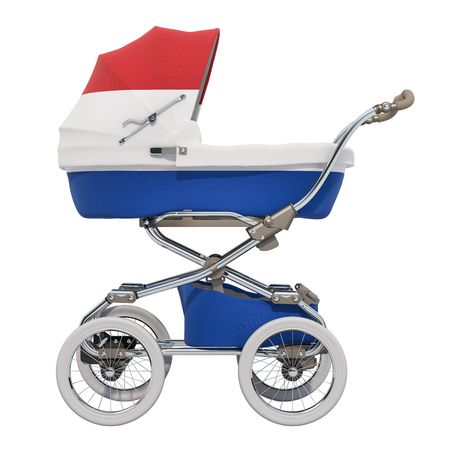 Baby stroller with Netherlands flag texture, 3D rendering isolated on white background Standard-Bild - 116655457