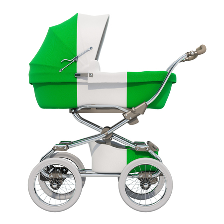 Baby stroller with Nigerian flag texture, 3D rendering isolated on white background Standard-Bild - 116655458