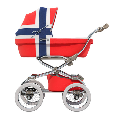 Baby stroller with Norwegian flag texture, 3D rendering isolated on white background Standard-Bild - 116655459