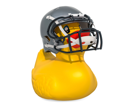 Football Player Rubber Duck, 3D rendering isolated on white background Standard-Bild - 116655483