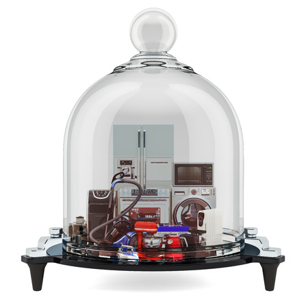 Household and kitchen appliances under glass bell, guarantee and protection concept. 3D rendering Standard-Bild - 116655485