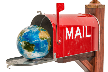 Mailbox with Earth Globe inside. International Mail Service concept, 3D rendering isolated on white background Standard-Bild - 116655497