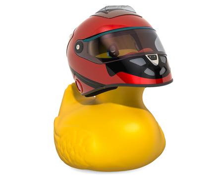 Racer Rubber Duck, 3D rendering isolated on white background Standard-Bild - 116655510