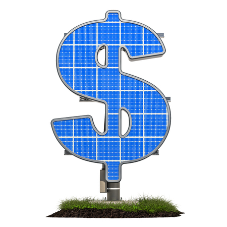 Solar panel in shaped of dollar symbol, 3D rendering isolated on white background Standard-Bild - 116655512