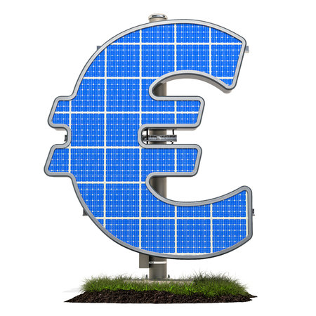 Solar panel in shaped of euro symbol, 3D rendering isolated on white background Standard-Bild - 116655513