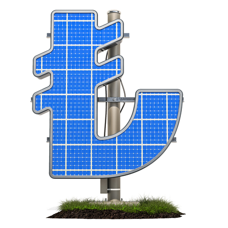 Solar panel in shaped of lira symbol, 3D rendering isolated on white background Standard-Bild - 116655514