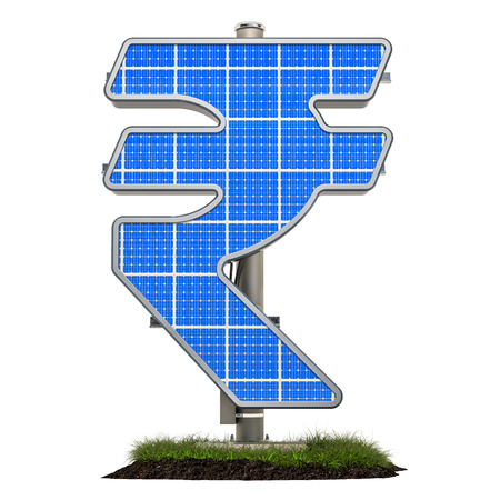 Solar panel in shaped of rupee symbol, 3D rendering isolated on white background Standard-Bild - 116655516