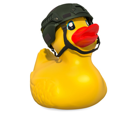 Soldier Rubber Duck, 3D rendering isolated on white background Standard-Bild - 116655526