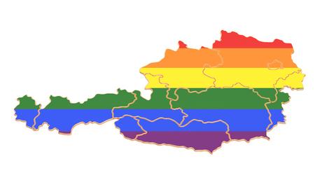 Austrian map with LGBT flag, 3D rendering Standard-Bild - 116694878