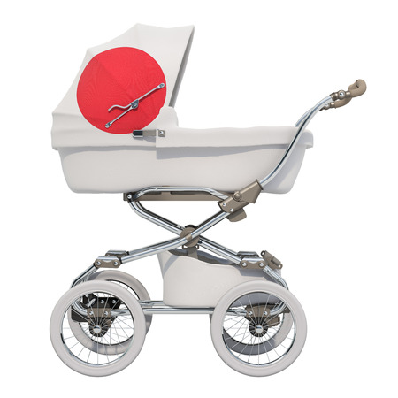 Baby stroller with Japanese flag texture, 3D rendering isolated on white background Standard-Bild - 116694887