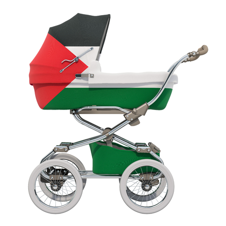 Baby stroller with Palestinian flag texture, 3D rendering isolated on white background Standard-Bild - 116694893