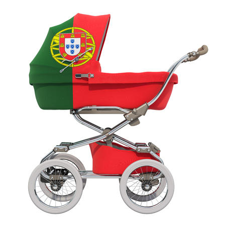 Baby stroller with Portuguese flag texture, 3D rendering isolated on white background Standard-Bild - 116694894
