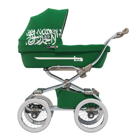 Baby stroller with Saudi Arabia flag texture, 3D rendering isolated on white background Standard-Bild - 116694895