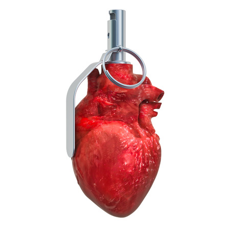 Heart attack, heart disease concept. Human heart as hand grenade. 3D rendering isolated on white background Standard-Bild - 116694897