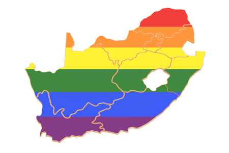 South Africa map with LGBT flag, 3D rendering Standard-Bild - 116694910