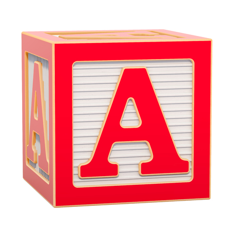 ABC Alphabet Wooden Block with A letter. 3D rendering isolated on white background Standard-Bild - 116815958