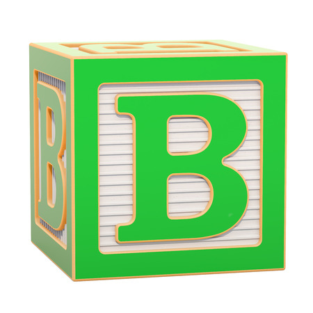 ABC Alphabet Wooden Block with B letter. 3D rendering isolated on white background Standard-Bild - 116815959