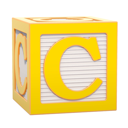 ABC Alphabet Wooden Block with C letter. 3D rendering isolated on white background Standard-Bild - 116815960