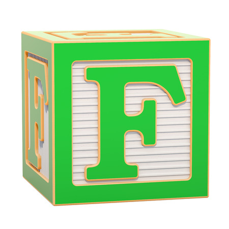 ABC Alphabet Wooden Block with F letter. 3D rendering isolated on white background Standard-Bild - 116815964