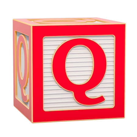 ABC Alphabet Wooden Block with Q letter. 3D rendering isolated on white background Standard-Bild - 116815965