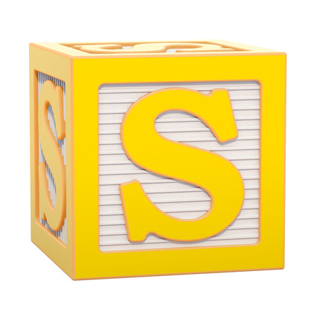 ABC Alphabet Wooden Block with S letter. 3D rendering isolated on white background Banco de Imagens