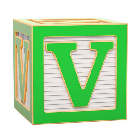 ABC Alphabet Wooden Block with V letter. 3D rendering isolated on white background Standard-Bild - 116815972