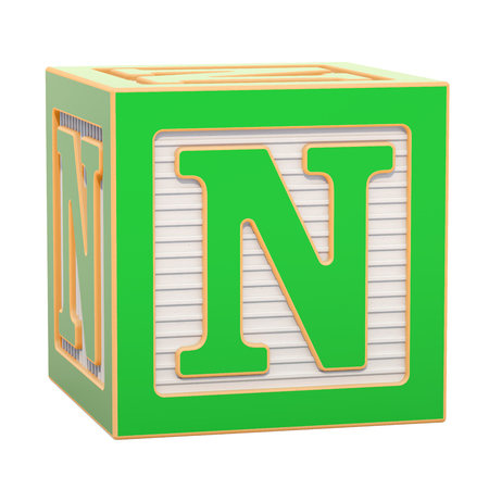 ABC Alphabet Wooden Block with N letter. 3D rendering isolated on white background Standard-Bild - 116815981