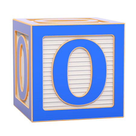 ABC Alphabet Wooden Block with number 0. 3D rendering isolated on white background Standard-Bild - 116815982