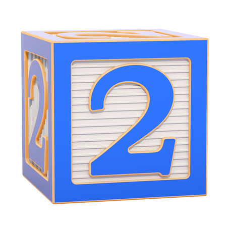 ABC Alphabet Wooden Block with number 2. 3D rendering isolated on white background Standard-Bild - 116815987