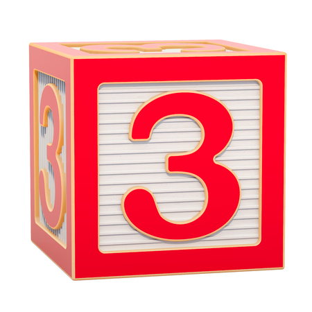ABC Alphabet Wooden Block with number 3. 3D rendering isolated on white background Standard-Bild - 116815988