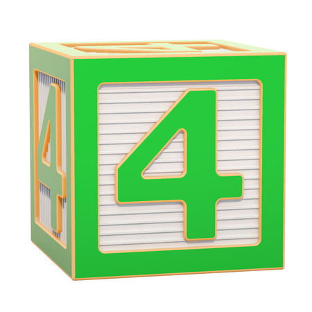 ABC Alphabet Wooden Block with number 4. 3D rendering isolated on white background Standard-Bild - 116815989