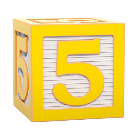 ABC Alphabet Wooden Block with number 5. 3D rendering isolated on white background Standard-Bild - 116815990