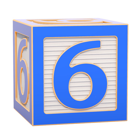 ABC Alphabet Wooden Block with number 6. 3D rendering isolated on white background Standard-Bild - 116815991