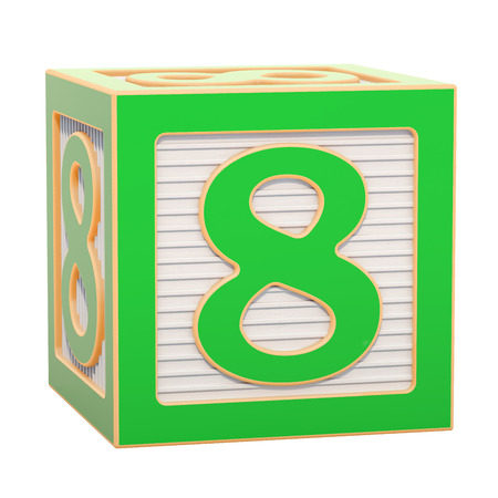 ABC Alphabet Wooden Block with number 8. 3D rendering isolated on white background Standard-Bild - 116815993