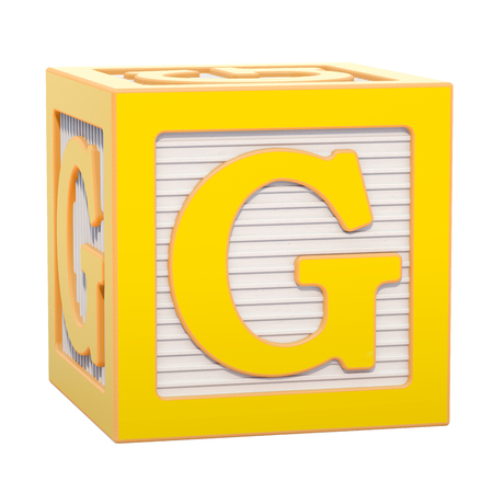 ABC Alphabet Wooden Block with G letter. 3D rendering isolated on white background Standard-Bild - 116815997