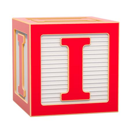 ABC-Alphabet-Holzblock mit I-Buchstabe. 3D-Rendering auf weißem Hintergrund