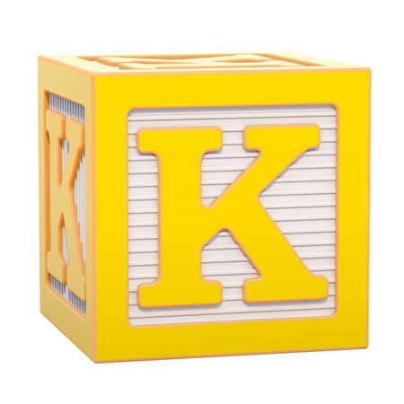 ABC Alphabet Wooden Block with K letter. 3D rendering isolated on white background Standard-Bild - 116816000