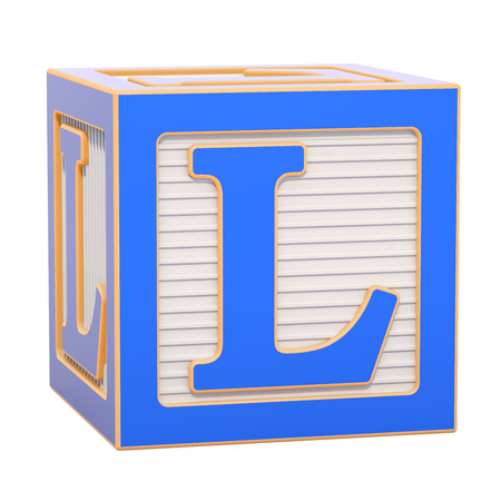 ABC Alphabet Wooden Block with L letter. 3D rendering isolated on white background Standard-Bild - 116816001