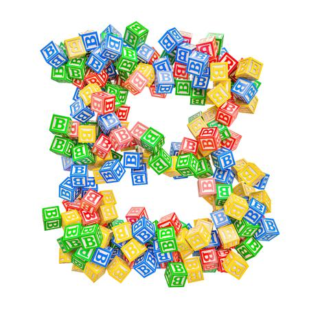 Letter B, from ABC Alphabet Wooden Blocks. 3D rendering isolated on white background Standard-Bild - 116825559