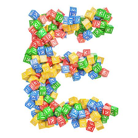 Letter E, from ABC Alphabet Wooden Blocks. 3D rendering isolated on white background Standard-Bild - 116825566