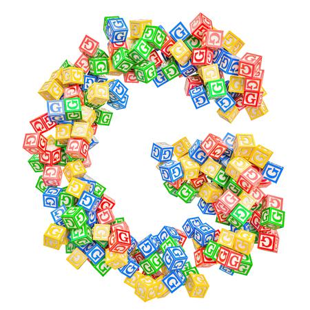 Letter G, from ABC Alphabet Wooden Blocks. 3D rendering isolated on white background Standard-Bild - 116825568