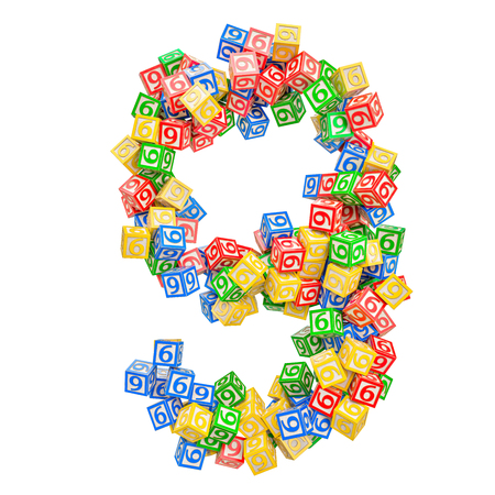 Number 9, from ABC Alphabet Wooden Blocks. 3D rendering isolated on white background Standard-Bild - 116825572