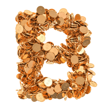 Alphabet letter B, from golden dollar coins. 3D rendering isolated on white background